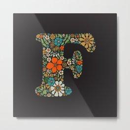 Hippie Floral Letter F Metal Print
