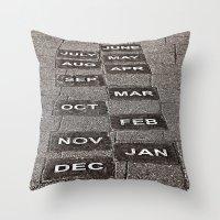 calendar Throw Pillows featuring Calendar Walk by Ethna Gillespie