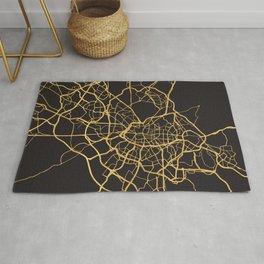 MADRID SPAIN GOLD ON BLACK CITY MAP Rug