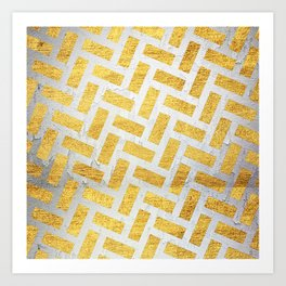 Brick Pattern 1 in Gold and Silver Art Print