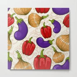 Cute vegetable pattern Metal Print