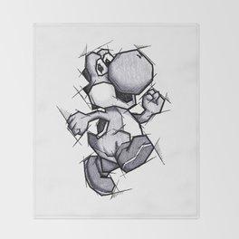 Yoshi Handmade Drawing, Games Art, Super Mario, Nintendo Art Throw Blanket