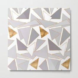 Modern Minimalist Gold Strokes Gray Triangles Metal Print
