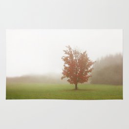 Maple Tree in Fog with Fall Colors Rug