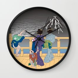 Hokusai People Seeing Mt. Fuji in the Rainy Sky Wall Clock