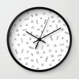 Geometric print pattern - Celin white Wall Clock
