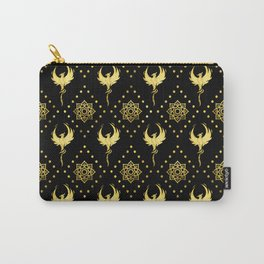 Gold Phoenix and lotus symbol pattern on black Carry-All Pouch