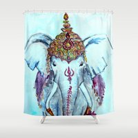 ganesh Shower Curtains featuring Ganesh by kirayoung