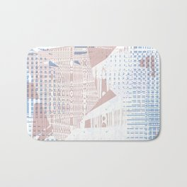 Pink random shapes on blue dotted squares pattern and white background Bath Mat