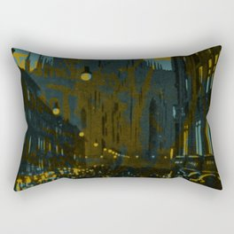 Vintage Made Modern: Italian Cityscape with Abstract Texture Rectangular Pillow
