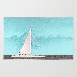 """Sailboat #5"" Art of the Sea by Murray Bolesta Rug"