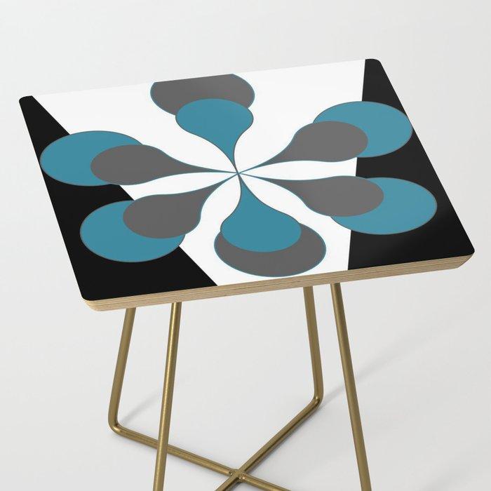 Mid-Century Modern Art 1.4B Grey Aqua Flower Side Table
