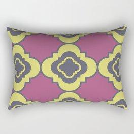 Quatrefoil - mauve, blue and yellow Rectangular Pillow