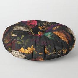 Midnight Hours Dark Vintage Flowers Garden Floor Pillow