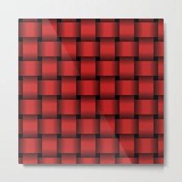 Large Firebrick Red Weave Metal Print