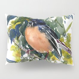 American Robin on Linden Tree, Deep blue Cottage Woodland style design Pillow Sham