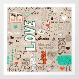 Seamless love letter pattern Art Print