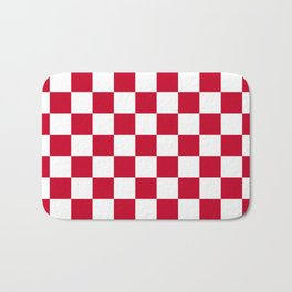 Red and White Check Bath Mat