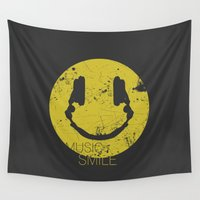 deadmau5 Wall Tapestries featuring Music Smile by Sitchko Igor