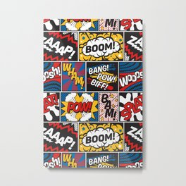 Modern Comic Book Superhero Pattern Color Colour Cartoon Lichtenstein Pop Art Metal Print