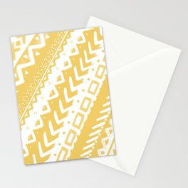 PASTEL YELLOW PAINTED TRIBAL DESIGN PATTERN PAINTED MULTI MEDIA Stationery Cards