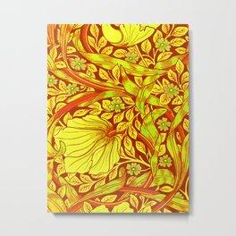 William Morris Cinnabar Forget Me Not Floral Art Nouveau Metal Print