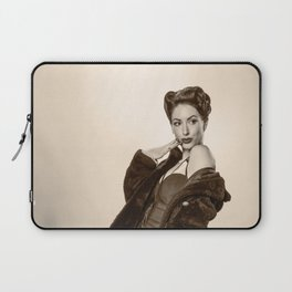 """""""Show a Little Shoulder"""" - The Playful Pinup - Vintage Pin-up Girl in Coat by Maxwell H. Johnson Laptop Sleeve"""