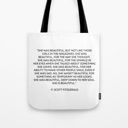 She was beautiful Fitzgerald Quotes Tote Bag