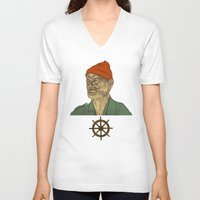 zissou V-neck T-shirts featuring Steve Zissou by Philipp Banken