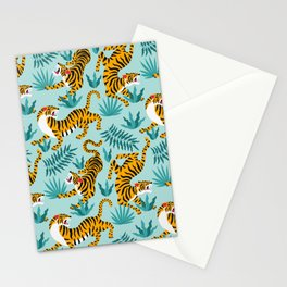 Asian tigers and tropic plants on background. Stationery Cards