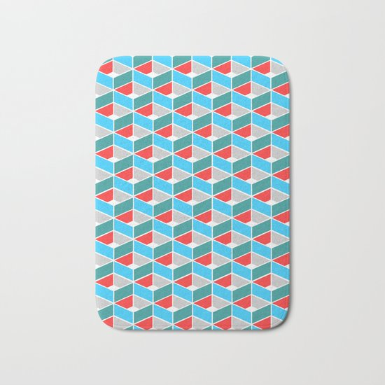 Simple Pattern Blue and Red Bath Mat
