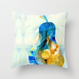 A Nice Pear - Abstract Art By Sharon Cummings Throw Pillow