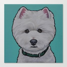 """Painting of a West Highland White Terrier """"Westie"""" on a sea breeze background Canvas Print"""