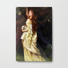 Classical Masterpiece: Ophelia (And He Will Not Come Back Again) by Arthur Hughes, circa 1865 Metal Print