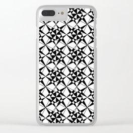 black and white symetric patterns 24- bw, mandala,geometric,rosace,harmony,star,symmetry Clear iPhone Case