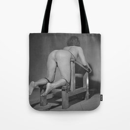 Tiedup naked woman on the Whipping bench in black and white 2# Tote Bag