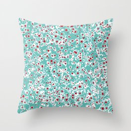 red wild dots Throw Pillow