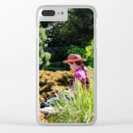 Lady In The Garden Clear iPhone Case
