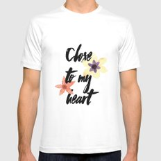 Close to my heart White MEDIUM Mens Fitted Tee