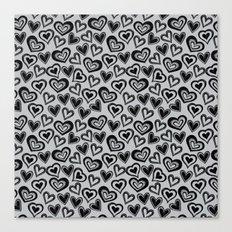 MESSY HEARTS: BLACK GRAY Canvas Print