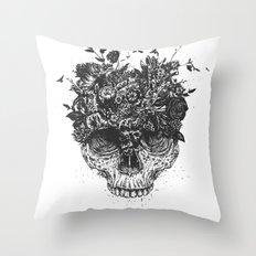 My head is a jungle (b&w) Throw Pillow