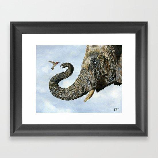 Elephant Cyril And Hummingbird Ayre Framed Art Print