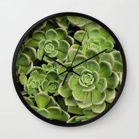 succulent Wall Clocks featuring Succulent by Cynthia del Rio