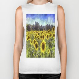 Sunflower Fields Of Dreams Art Biker Tank