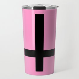 Inverted Cross on Pink Travel Mug
