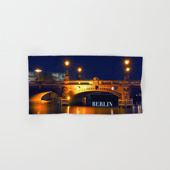 Nocturnal Lights on the river Spree in Berlin Hand & Bath Towel