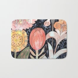 Mixed Flowers with Tulip on Black Bath Mat