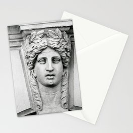Woman Carved in Stone Florence, Italy Photograph by Larry Simpson Stationery Cards