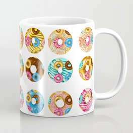 Funny Colourful Donuts over Donuts Pattern Illustration Coffee Mug