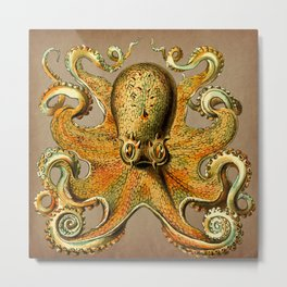 Vintage Golden Octopus Metal Print